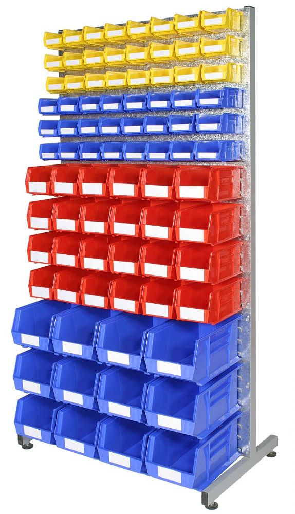 Double Sided Louvre rack with bins - Kit C